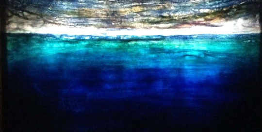 N°2, 2015, Plexi, papier japon, cire, pigments, retro-éclairé, 104 x 136 cm