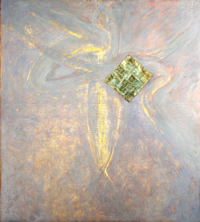 Aigle ailé,cire, or, lumière (retro éclairé) 2,29 x 2,56 m, 2007