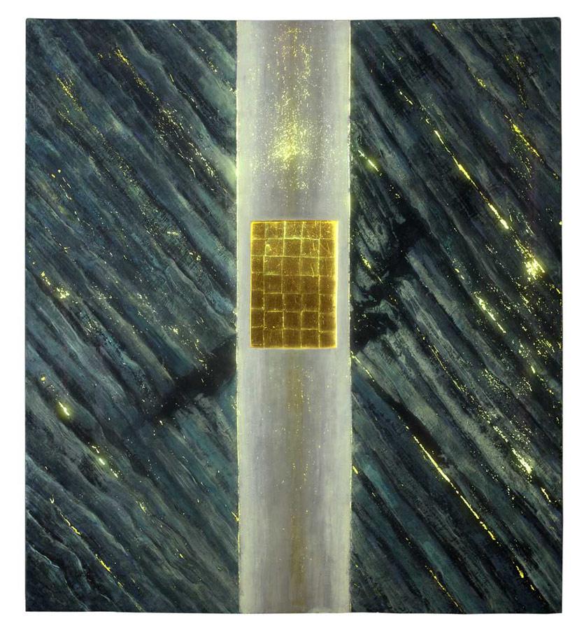 Cavalier Vert cire, or, lumière (retro éclairé), 2007, 2,29 x 2,56 m