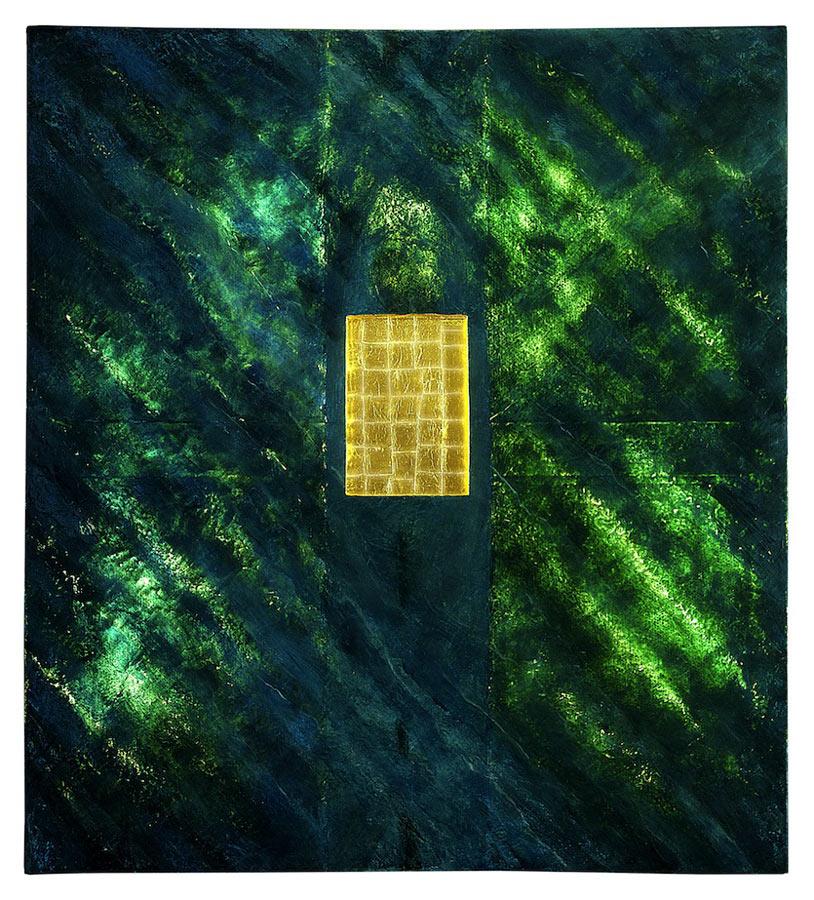 Homme Ailé, cire, or, lumière (retro éclairé) 2,29 x 2,56 m