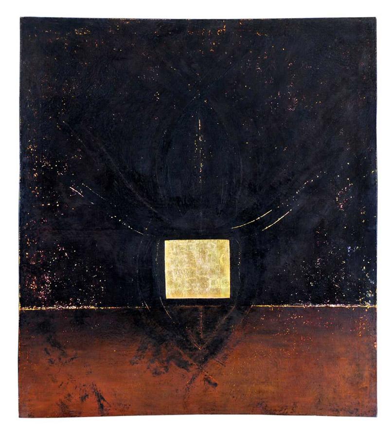 Taureau ailé, cire, or, lumière (retro éclairé) 2,29 x 2,56 m