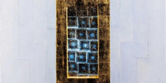 cire, or, lumière (retro éclairé) 2,29 x 2,56 m