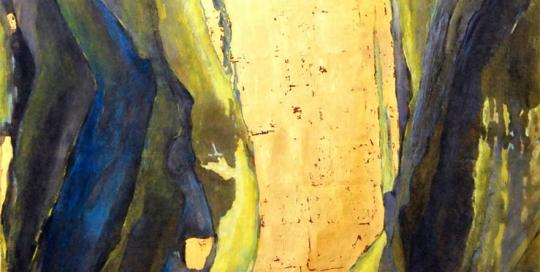 Encre cire or sur papier marouflé sur toile,100 x 136 cm, 2013