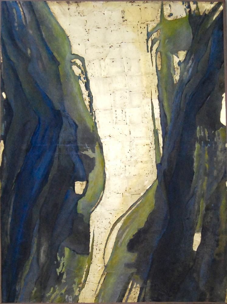 Peinture, encaustique, feuille d'or sur toile
