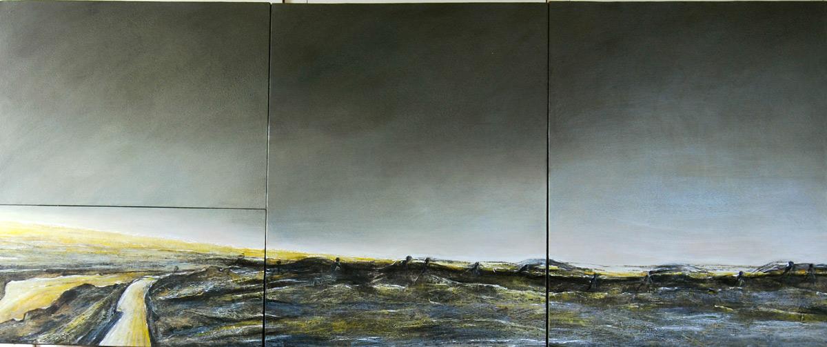 Exils, mixte, encaustique sur toile, 2,40 x 0,80 m, 2009
